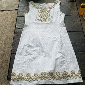 Lilly Pulitzer White and Gold Cotton Dress A Line